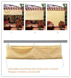 Easy2Hang 8x6ft wheat Adjustable Side SunShade Panel Wall for Pergola, Patio, Window, Instant Canopy or Gazebo