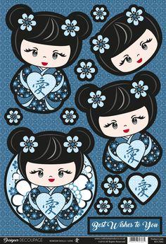 Buzzcraft Kokeshi Dolls designer decoupage - Love