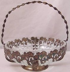 Westminster Hobnail Crystal Bowl Silver Plate Rose Basket Hand Made England | eBay