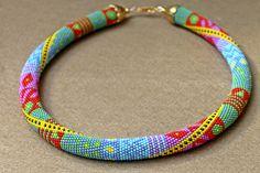 The Rainbow beaded rope necklace-Bead crochet necklace with geometric pattern-Beaded rope necklace-Handmade jewelry-Patchwork (70.00 USD) by Daidija