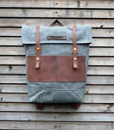 Waxed canvas backpack / rucksack with folded top and waxed leather shoulderstrap auf Etsy, CHF 198.95