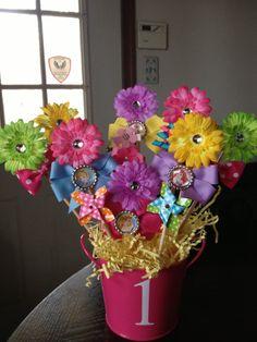 1st Birthday Hair Bow/Clip Gift Set for Stefani by allisonmcnally