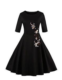 Damen Hülle Kleid-Party/Cocktail Übergröße Retro Stickerei Rundhalsausschnitt Knielang ¾-Arm Weiß Schwarz Baumwolle Polyester SommerHohe