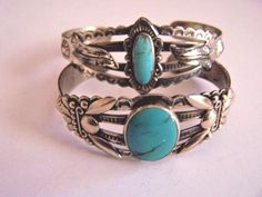 VINTAGE PAIR OF BELL TRADING POST NAVAJO TURQUOISE & STERLING SILVER BRACELETS
