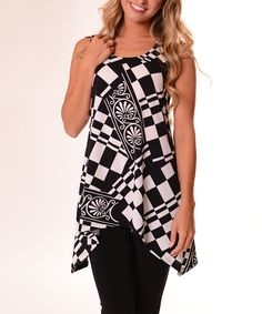 4d6064a22a6 Lbisse Black  amp  White Geometric Sidetail Tank - Plus by Lbisse  zulily   zulilyfinds