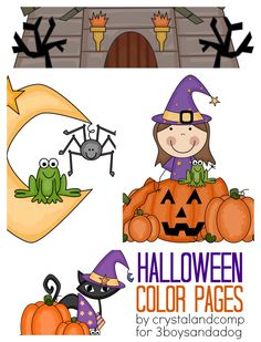 kid color pages halloween  Kid Color Pages: Halloween