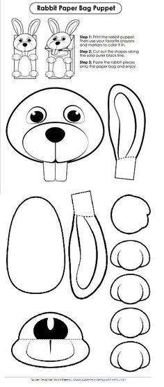 Check out this adorable bunny cut-out for Easter! Make this into a paper bag puppet with your favorite coloring supplies!