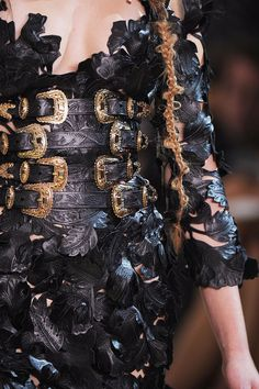 Drama & Opulence - embossed leather leaves and lavish gold buckles; close up fashion detail // Alexander McQueen