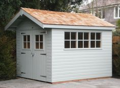 Fun She Shed Conversion Ideas Backyard Sheds, Garden Sheds, Shed Conversion Ideas, Painted Shed, Home And Garden Store, Build Your Own Shed, Shed Colours, Garden Buildings, Outdoor Buildings
