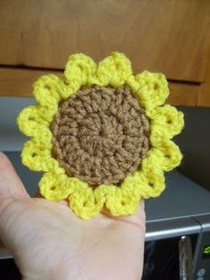 Crochet It: Free Sunflower Motif Crochet Pattern {for smaller flower do single crochet in the center}
