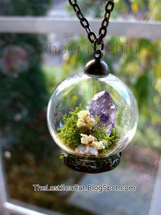 Terrarium necklace Raw Amethyst pendant Crystal by phoenixchiu