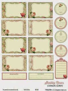 Free Shabby Roses Journal Cards and Labels from Vintage Glam Studios Vintage Glam, Vintage Tags, Vintage Labels, Vintage Roses, Printable Tags, Printable Paper, Free Printables, Pocket Scrapbooking, Scrapbook Paper