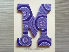 Painted Nursery Letters Initial Wooden Wall Door Custom Modern Design Purple Circles Flowers Gift Baby Child Name Home Decor Girl - M by PaintedLettersCA on Etsy Painted Letters, Hand Painted, College Room Decor, Girl M, Baby Name Signs, Nursery Letters, Wooden Walls, Kid Names, Circles