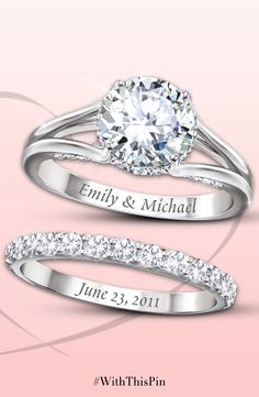diamonesk bridal ring set with engraved names and date engraving ideasengraved ringswedding - Wedding Ring Engraving Ideas