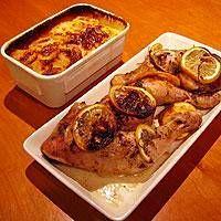 Rosmariinibroileri ja valkosipuliperunat sekä mariannepirtelö