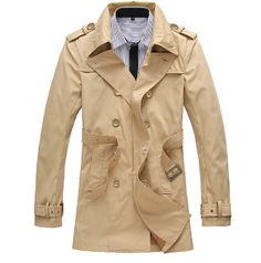 Men's Double Breasted Trench Coat with Belt