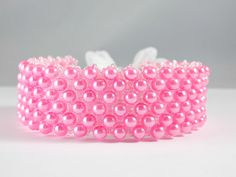 Bubble Gum Pink Glass Pearl Beaded Bracelet - Free Shipping - pinned by pin4etsy.com
