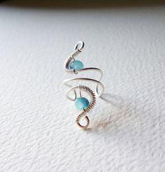 Cocktail Ear Cuffsea blue ear wrapCrystal by SimplyWireWrapped, $9.00