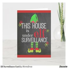 Elf Surveillance Card Christmas Elf, Christmas Greetings, Holiday Cards, Christmas Cards, Party Hats, Funny Cute, Happy Holidays, Logos, Paper