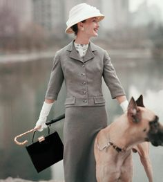 A lady with a Great Dane- photographed by Karen Radkai in 1956
