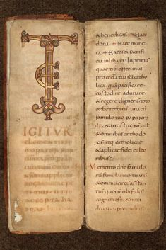 That's a lovely oblong #manuscript! Measuring 49 x 32.5 cm, this is a quite monumental sacramentary! Copied in the late 9thC for the Church of #Cambrai, it's still preserved there (Bibl. Municipale MS 162). And look at those stunning ornate initials !!! #medieval #art