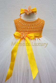 Yellow Flower girl dress, Daffodil tutu dress, yellow daffodil bridesmaid dress…