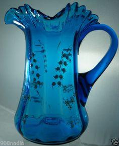 Antique Vintage Moser Victorian Blue Teal Art Glass Pitcher Enamel Lily Flower | eBay