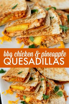 Chicken & Pineapple Quesadillas BBQ Chicken & Pineapple Quesadillas - love the sweet and spicy combo! So easy to make and tastes delish.BBQ Chicken & Pineapple Quesadillas - love the sweet and spicy combo! So easy to make and tastes delish. Clean Eating Snacks, Healthy Eating, Mexican Food Recipes, Dinner Recipes, Snacks Sains, Cooking Recipes, Healthy Recipes, Easy Bbq Recipes, Best Lunch Recipes