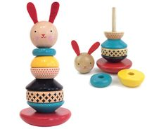 modern bunny wooden stacking toy at my sweet muffin | baby shower gift guide