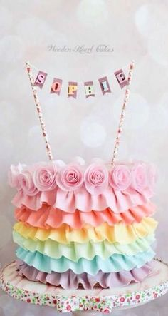 Rainbow Ruffles Cake- love this. would add a top tier with a unicorn on top of i. Rainbow Ruffles Cake- love this. would add a top tier with a unicorn on top of it or just add unico Pretty Cakes, Cute Cakes, Beautiful Cakes, Amazing Cakes, Fondant Cakes, Cupcake Cakes, Bolo Star Wars, Bolo Cake, Girl Cakes
