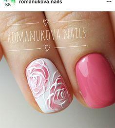 Pink Floral Rose Design Get Nails, Fancy Nails, How To Do Nails, Hair And Nails, Acrylic Nail Designs, Acrylic Nails, Nail Art Designs, Rose Nails, Flower Nails