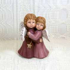Handmade Ceramic Angels Hugging by JillsTreasureChest on Etsy, $15.00