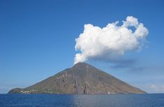 The Island of Stromboli by Steven W. Dengler, wikipedia: A small island in the Tyrrhenian Sea, off the north coast of Sicily, containing one of the three active volcanoes in Italy.  #Stromboli #Italy