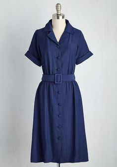 Drive-In Force Dress - Blue, Solid, Work, Vintage Inspired, 40s, A-line, Shirt Dress, Short Sleeves, Spring, Woven, Better, Long