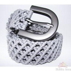 "Grey Elegant macrame belt ""Armani style"" for men"