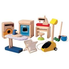 Plan Toys Doll House Household Accessories Set (Toy)  http://www.amazon.com/dp/B000A42YLY/?tag=goandtalk-20  B000A42YLY