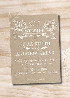 Rustic Kraft Wedding Invitation and Response by PaperHeartCompany