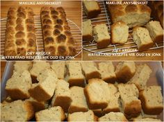ANYS BESKUIT Picture South African Dishes, South African Recipes, My Recipes, Bread Recipes, Cooking Recipes, Baking Muffins, Bread Baking, Bacon Wrapped Potatoes, Rusk Recipe