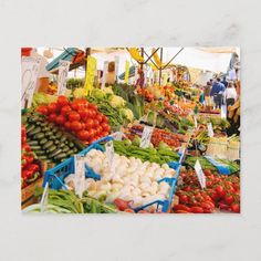 Fresh Produce at Farmers Market Postcard Size: ' ' Postcard. Gender: unisex. Age Group: adult. Material: Matte. Farmers Market, Fresh, Marketing, Create, Painting, Unisex, Products, Painting Art, Paintings