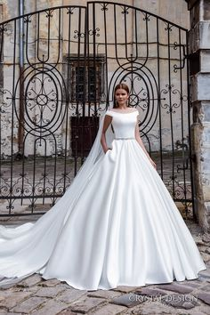 CRYSTAL DESIGN bridal 2016 off the shoulder jeweled belt chic modern simple a  line ball gown wedding dress with pockets royal train (shina) mv #bridal #wedding #weddingdress #weddinggown #bridalgown #dreamgown #dreamdress #engaged #inspiration #bridalinspiration #weddinginspiration #weddingdresses #crystaldesign #pockets #ballgown #romantic #bride #princess