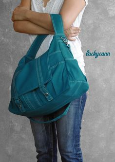 I love this bag!  Pockets!  ASTER  Everyday Canvas Bag handmade by by luckycann.