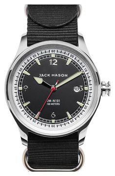 Jack Mason Brand Nautical NATO Strap Watch, 42mm available at #Nordstrom