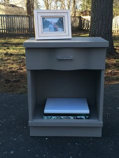 Wavy Midcentury Nightstand / Bedside Table / French Linen / Annie Sloan