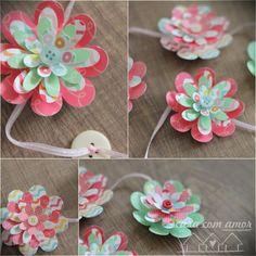 Cordão flores de papel