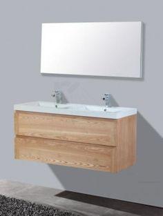€ 1.049,- Lambini Designs Trend wood badmeubel - eiken - 2 kraangaten - 58cm (H) - 120cm (B) - 47cm (D) #mineraalmarmer #eiken #hout #softclose