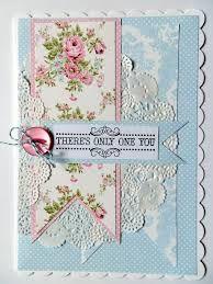 Tarjeta vintage azul y rosa