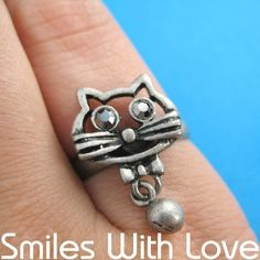 $6 Adjustable Kitty Cat Animal Ring in Silver