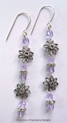 <3 Choice of 3 colours <3 Colour shown is Lilac and Clear Crystal Rondelle ♥ .925 Sterling Silver Faceted Czech Glass Crystal Rondelle and Flower Long Drop Hook Earrings + Gift Box & Organza Gift Bag ~ by Christine & Francesca Designs ---- #handmade #handcrafted #crystal #czech #silver #jewellery #hook #earrings #dangle #lilac #purple #clear #rondelle #flower #flowers #glass #sterling