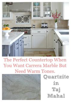 Quartzite in Taj Mahal is a great countertop when you can't pull off carrera marble and need warm tones to match the rest of the kitchen elements. Beautiful Kitchen Designs, Beautiful Kitchens, Beautiful Homes, Updated Kitchen, New Kitchen, Kitchen Ideas, Kitchen Inspiration, Vintage Kitchen, Design Inspiration