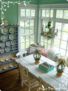 Vintage kitchen with breakfast book and window seat - green and blue